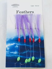6 Packs White Lightning 5 Hook Size 3/0 Fishing Mackerel Feathers Lures Sea