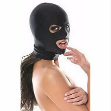 Black Spandex Latex Mask fancy dress Hood wet look PVC eye and small mouth holes