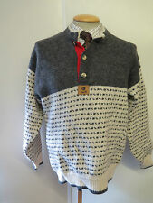 """Traditional Vintage Nordic Norwegian Pattern Button Neck Jumper Size M 38-40"""""""