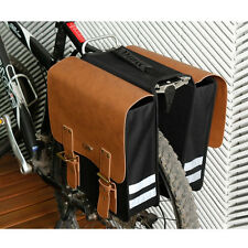 Double Pannier Leather Waterproof Bicycle Cycling Front Frame Rear Seat Pack