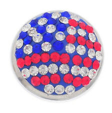 3D Rhinestone USA Flag Charm Chunk Snap Button fit for Noosa Leather Bracelet !