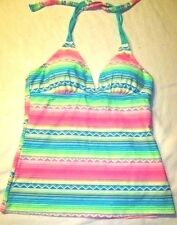 Bright & PRETTY!  SO Tankini Halter Top, Size XL (16 / 18)  Long