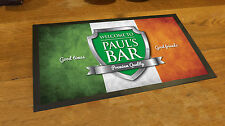 Personalised with your name Irish Flag Chrome beer label Beer label Bar runner
