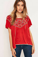NWT - FREE PEOPLE 'MUSE' Red EMBROIDERED BLOUSE / TOP - M