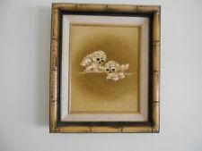 Small Owl Painting Done On Canvas By Harris In Beautiful Bamboo Frame 1981