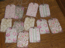 12 Beautiful Assorted Green Pink Vintage Floral  HaNg TaGs Gift Vendor Price Tag