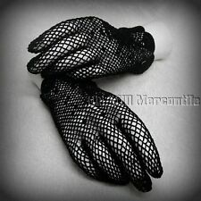 Victorian Edwardian Downton Abbey style black cotton gloves one size