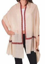 Pure Cashmere Cream Pashmina Embroidered: The Rustic Noon Cream Scarf or Wrap