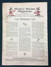 "Original 1935 Walt Disney ""Mickey Mouse Magazine with Comics"" vol.1#2 coverless"