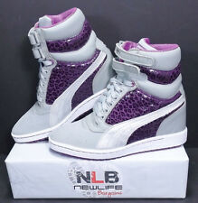 PUMA Wedge SKY 356342-02 Metal/Gray/Purple Suede/Leather WMNS Size 8.5