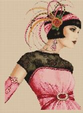 Counted Cross Stitch ART DECO FLAPPER LADY in Pink Dress COMPLETE KIT No.5vb-30a