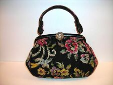 Vintage CARPET NEEDLEPOINT TAPESTRY HANDBAG/PURSE with a floral design VERY NICE