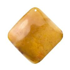 Golden Jade Pendant Flat Square Gemstone Bead 60mm Pack of One (C11/3)
