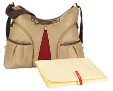 "NWT SKIP HOP ""Versa"" Expandable KHAKI Nylon Diaper Bag Crossbody w/Changing Pad"