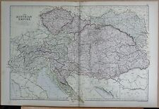 1882 LARGE ANTIQUE MAP - THE AUSTRIAN EMPIRE LOMBARDY DALMATIA TRANSYLVANIA BOHE