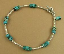 Turquoise bracelet. Fine / sterling silver. Dangle. Blue/green. Handmade.