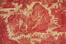 Antique French Toile  l'art d'aimer red valance bed textile hanging valance 1790