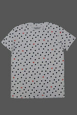 Branded  Export Surplus White  All Over Printed  Men's Round Neck T Shirt-M size