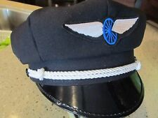 VINTAGE OLD SCHOOL STYLE BIKER ROAD CAPTAIN'S HAT/CAP - WHEEL & WING PATCH !!