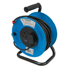 25m Extension Cable Reel - 13A - With 2 Sockets - Heavy Duty Steel Frame