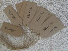 20 Thank You Kraft card tags jute wedding favour gift labels party hand made 7cm