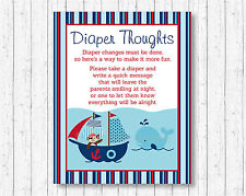 Nautical Pirate Whale Diaper Thoughts Late Night Diaper Baby Shower Game
