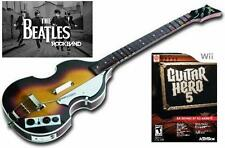 NEW Nintendo Wii Beatles Rock Band Wireless Hofner Bass & Guitar Hero 5 Game