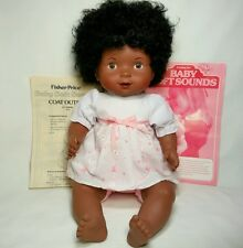 """16"""" Vintage 1980 Fisher Price Baby Soft Sounds Doll Cloth and Vinyl Works Cries"""