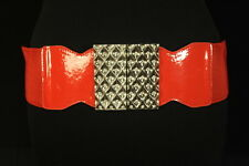 60'S STYLE KOOKY BRIGHT RED WAIST BELT,GEM / SILVER TONE SWIRL BUCKLE (SC23)