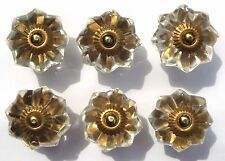 Glass / cut glass clear brass flower drawer cupboard door knobs x 6 FREE POSTAGE