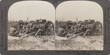 WW1 USA of America military Keystone View Co stereo view card loading 3 inch gun