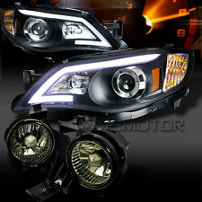 For 08-11 Subaru Impreza WRX Black LED DRL Projector Headlights+Smoke Fog Lights