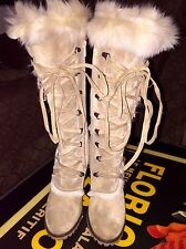 Coach Lucy Tall Tan Suede Fur/Lace Up Boot Retired Size 6 1/2 Italy
