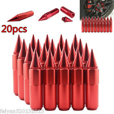 20pcs Spiked Nut Red Aluminum Extended 60mm Lug Nuts For Wheels/Rim M12X1.5 Set