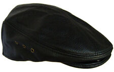 Genuine Leather Large Black Newsboy Gatsby Cabbie Flat Driver Ivy Ascot Hat Cap