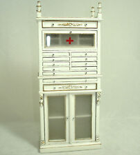 Dollhouse Bespaq White Medical Cabinet with Glass Doors 1:12 Scale Miniatures