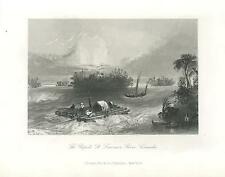 ANTIQUE WHITE WATER RAPIDS SAIL BOAT WOODEN RAFT ST LAWRENCE RIVER CANADA PRINT