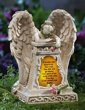 "Solar Lighted Weeping Angel ""Loved Ones Lost"" Garden Memorial Statue"
