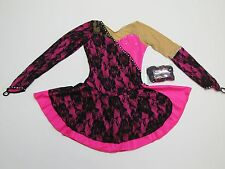 FIGURE SKATING COMPETITION DRESS Hot Pink & Black Lace Loaded w Crystals Child L