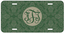 Personalized Monogrammed Damask Green License Plate Custom Car Tag L485