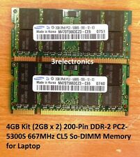 4GB Kit (2GBx2) 200-Pin DDR2 PC2-5300S 667MHz SODIMM LAPTOP MEMORY