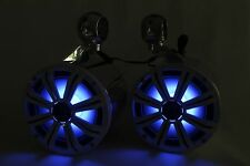 "Kicker 8"" Marine KM84LCW Tower Speakers & Polished Cans-NEW with RGB LEDs"