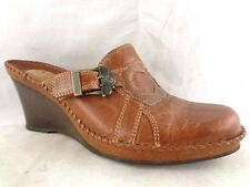 CLARKS Size 6M Artisan Women Brown Leather Wedge Mules Slip Ons