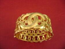 AUTH Chanel vintage CC logos gold color cuff  bangle Bracelet