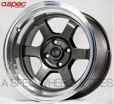 15X9 +0 ROTA GRID-V GUN METAL 4X100 FIT CIVIC XA XB VW CORRADO LIGHT RACING RIMS