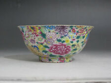 Chinese Famille Rose porcelain Bowl Painted Many flower peach Qianlong mark W162