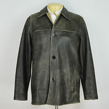 BUGATCHI UOMO Genuine Leather Distressed Winter Jacket Coat Sz M