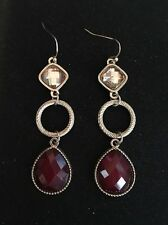 New York And Company Gold And Ruby Red Drop Earring
