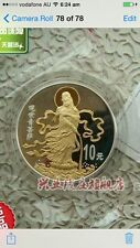 1999 CHINA GUANYIN BUDDHIST  gold plated SILVER COIN coa