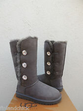UGG BAILEY SWAROVSKI BUTTON TRIPLET BLING GRAY SHEEPSKIN BOOTS, US 10/ 41 ~ NEW